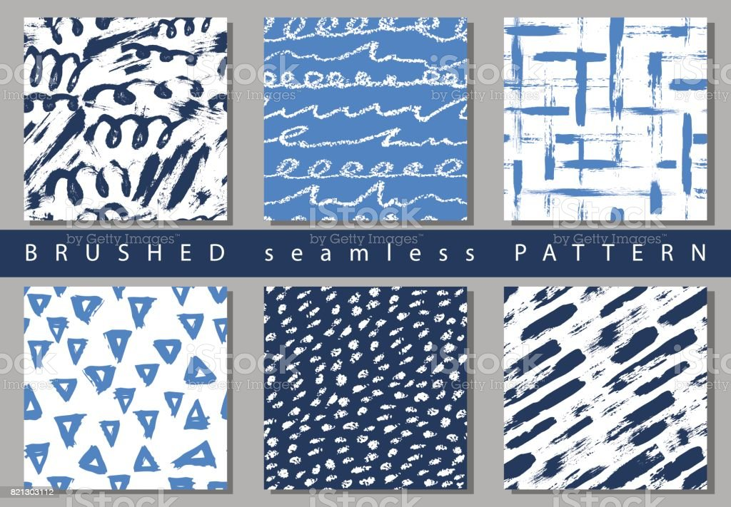 Set of Vector colorful seamless pattern with brush strokes and dots. Blue color on white background Hand painted grange texture. Ink geometric elements. Fashion modern style Unusual kid school collage vector art illustration