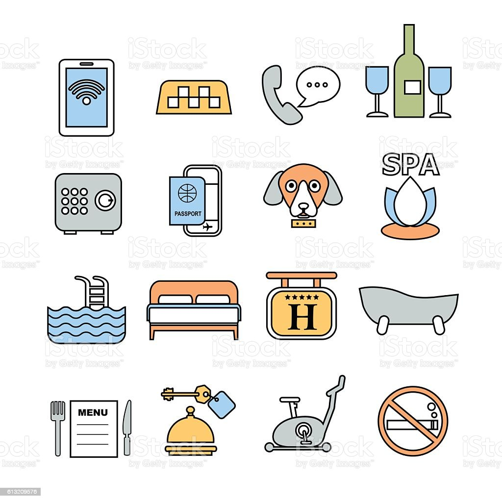 set of vector contour icons for hotel service vector art illustration