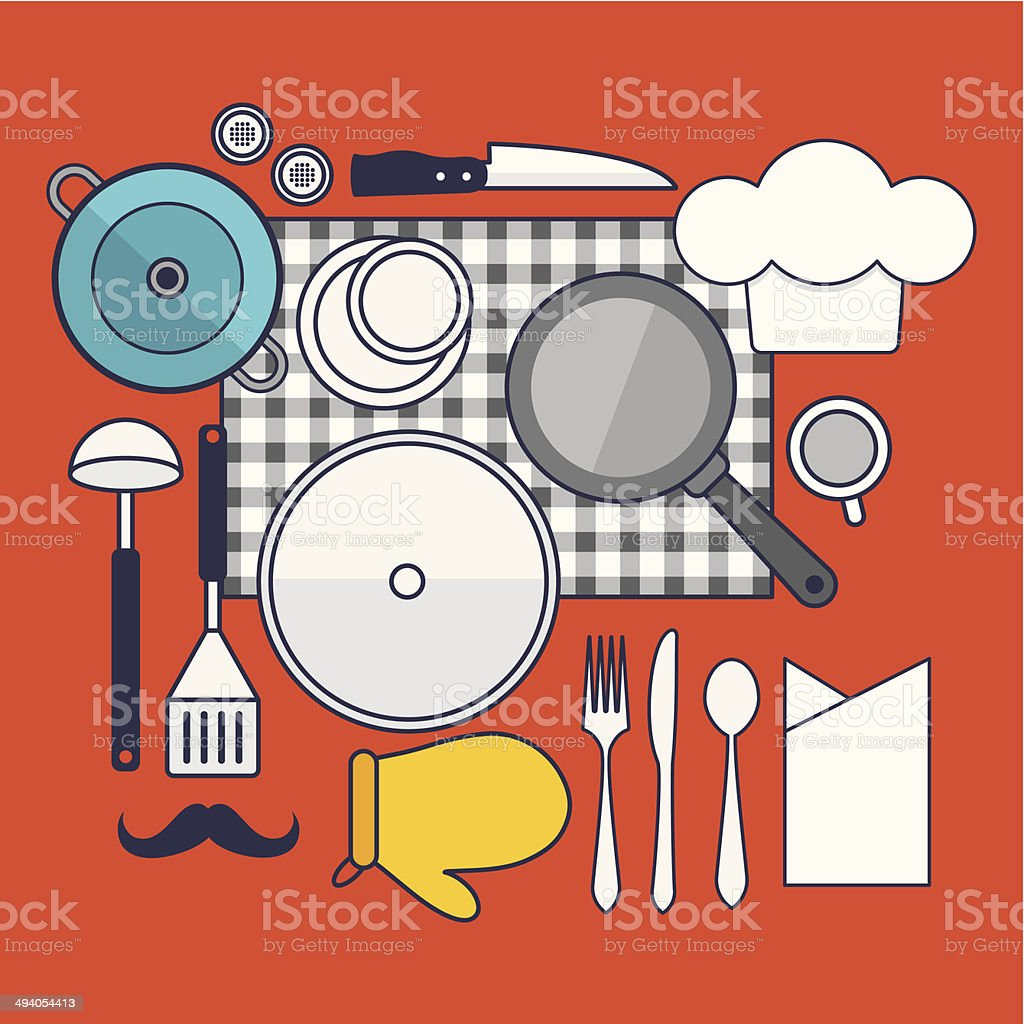 Set of vector cooking concept design flat line royalty-free stock vector art