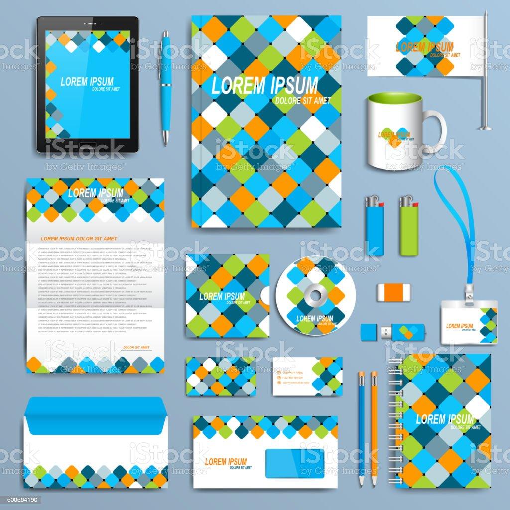 Set of vector corporate identity template. Modern business stationery mock vector art illustration