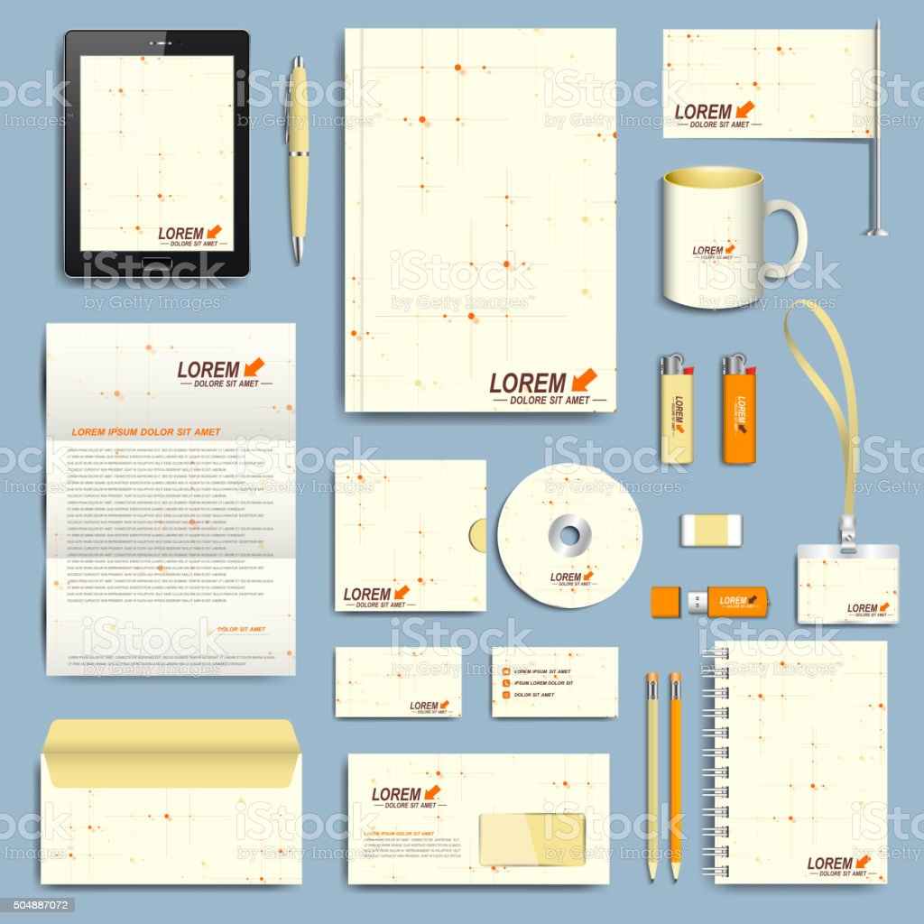 Set of vector corporate identity template. Modern business stationery design vector art illustration