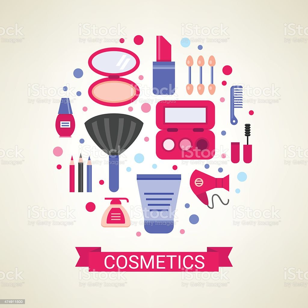 Set of vector cosmetic symbols vector art illustration