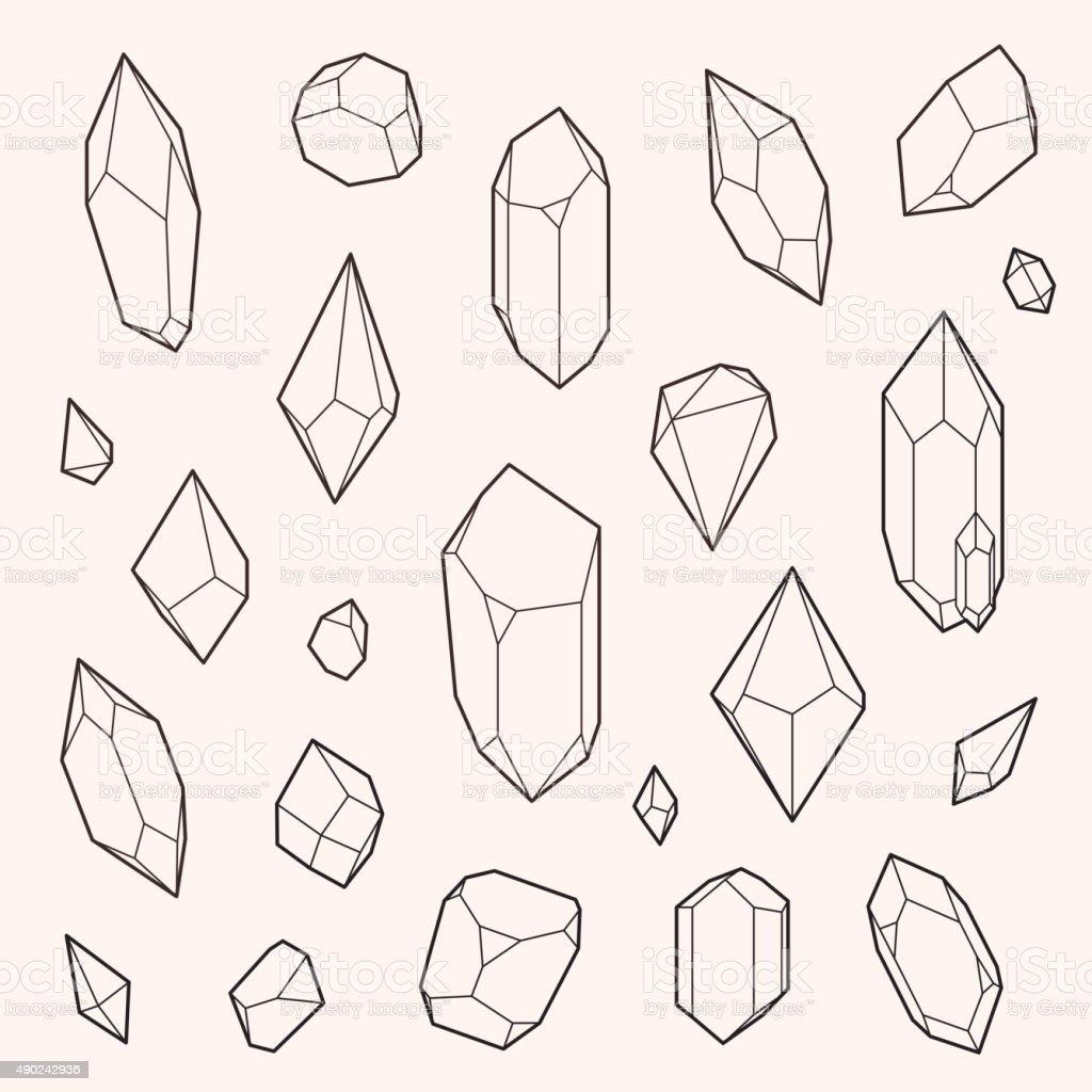 Set of vector crystal shapes vector art illustration