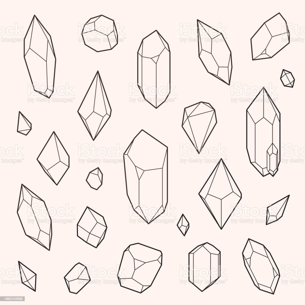 Set of vector crystal shapes vector art illustration