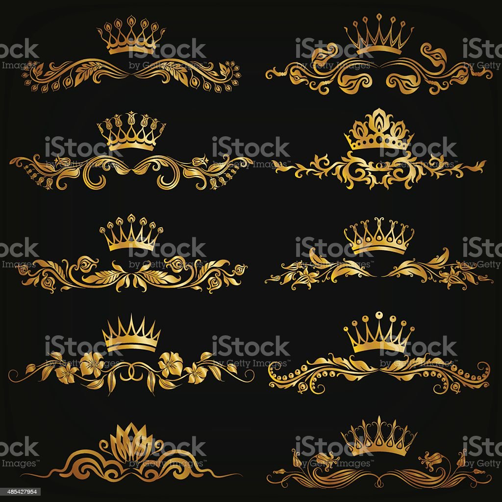 Set of vector damask ornaments vector art illustration