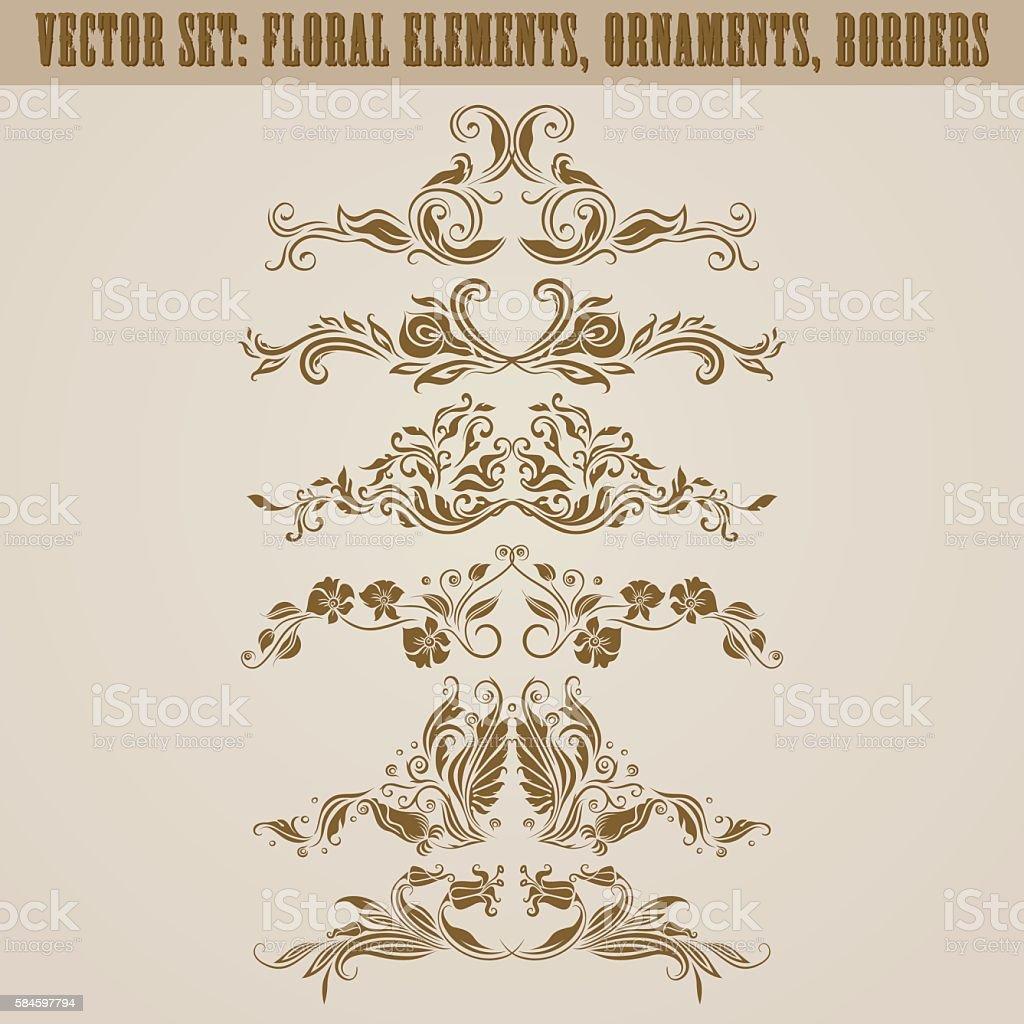 Set of vector damask ornaments. vector art illustration