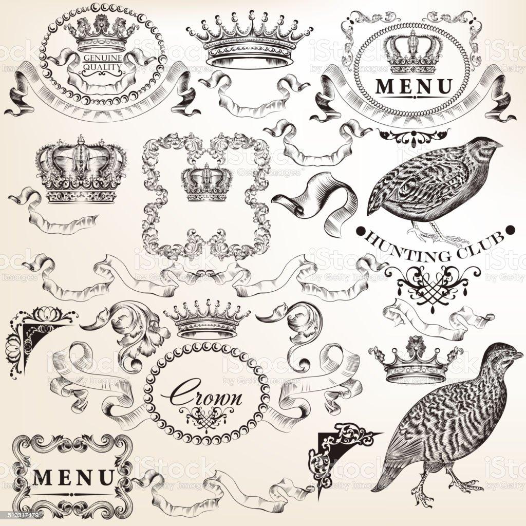 Set of vector decorative elements in vintage style vector art illustration