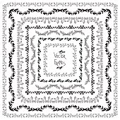 Set of vector decorative elements. Square frames with hand drawn