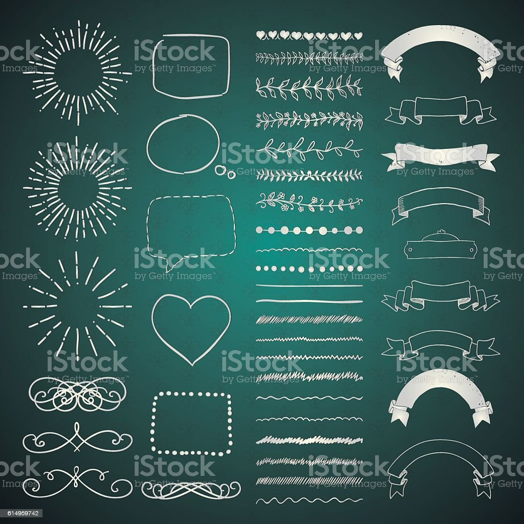 Set of Vector Decorative Hand Drawn Design Elements vector art illustration