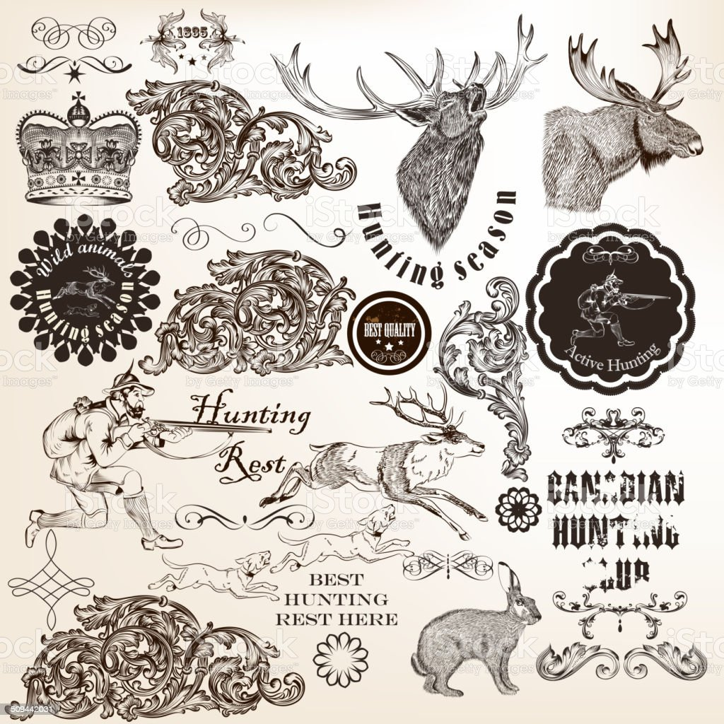Set of vector decorative hunting and floral elements in vintage vector art illustration