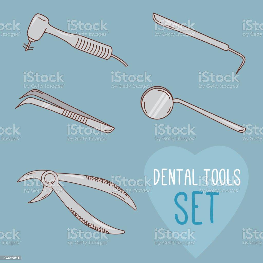 Set of vector dental tools vector art illustration
