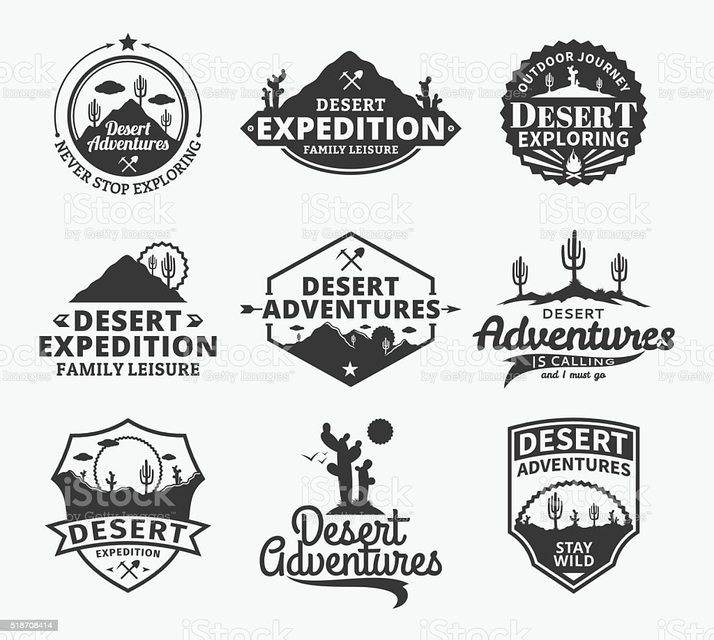 Set of vector desert adventures labels vector art illustration