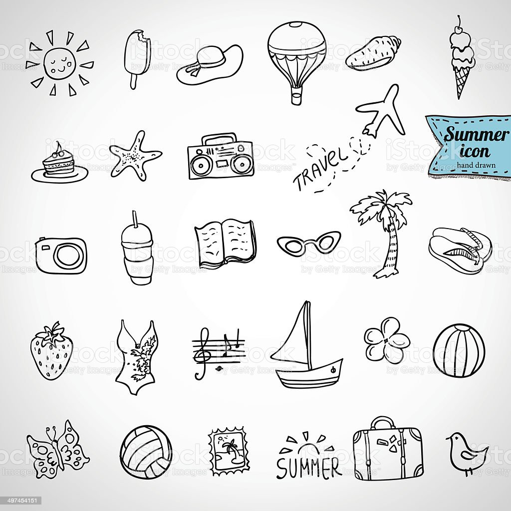 Set of  vector doodle summer icons royalty-free stock vector art