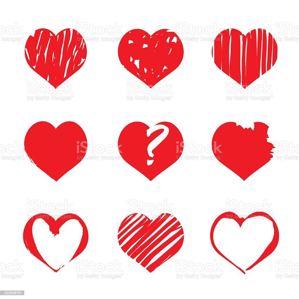 Set of vector drawing hearts vector art illustration