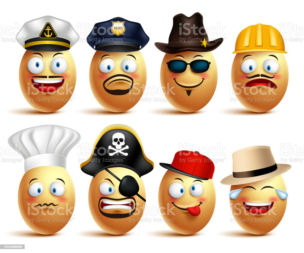Set of vector egg faces of professionals with caps vector art illustration