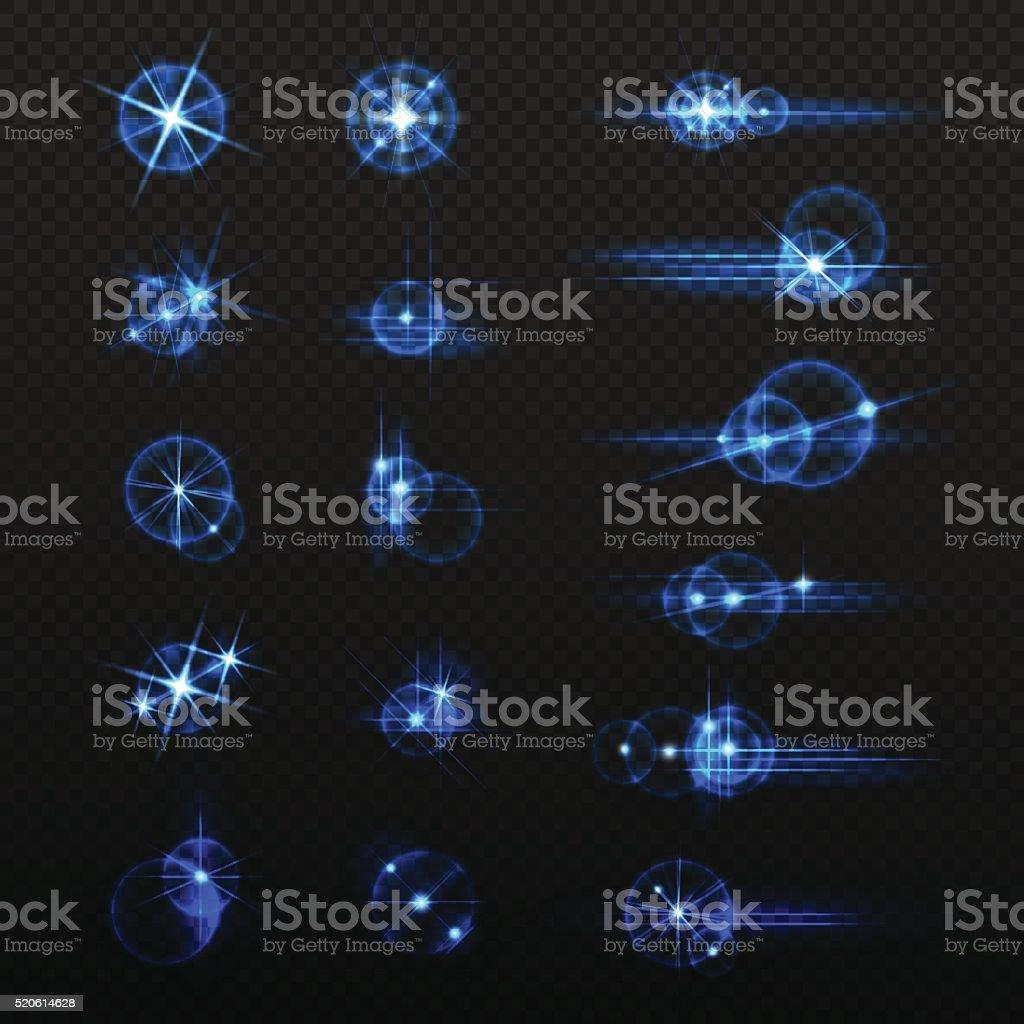 Set of vector elements glow light effects. vector art illustration