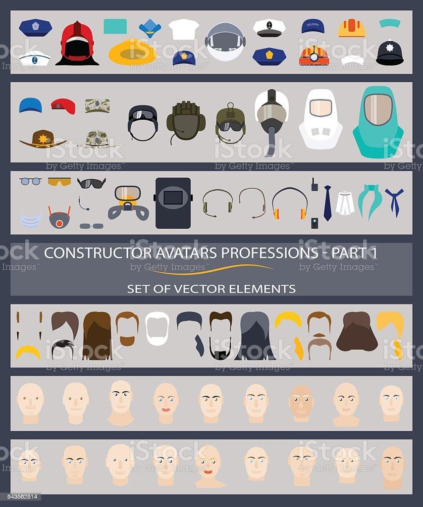 Constructor avatars professions - Part 1. Set of vector elements. vector art illustration
