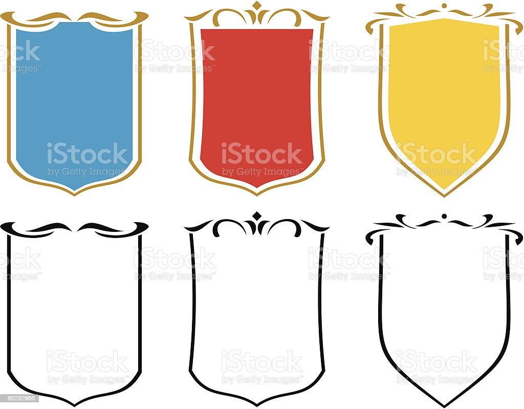 Set of  vector emblems, crests and shields royalty-free stock vector art