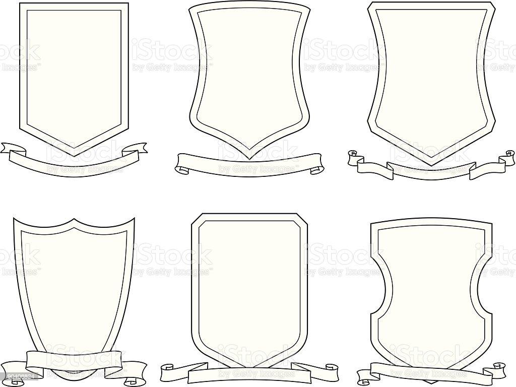 Set of vector emblems, crests, shields and scrolls vector art illustration