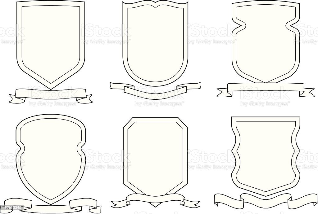 Set of vector emblems, crests, shields and scrolls royalty-free stock vector art