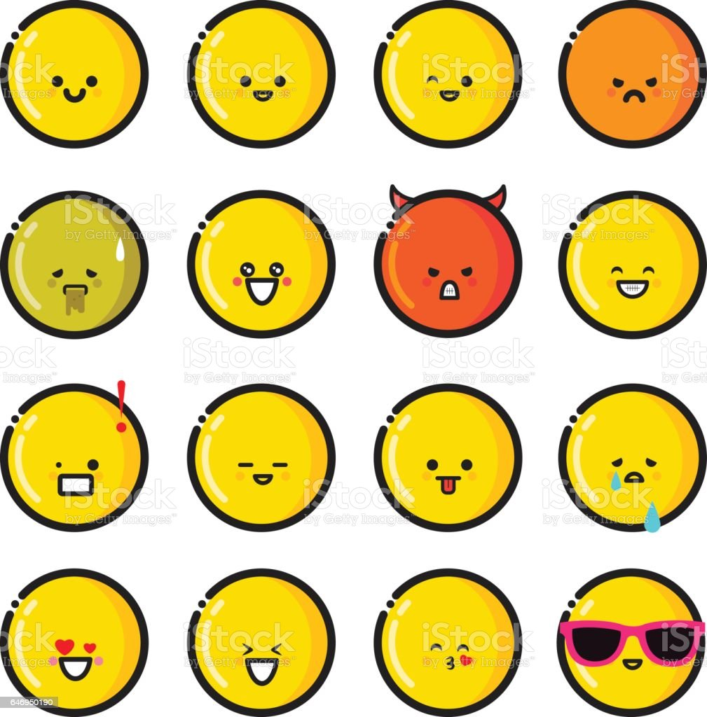 Set of vector emoticons in line style, emoji isolated , yellow face. Cute icons. vector art illustration