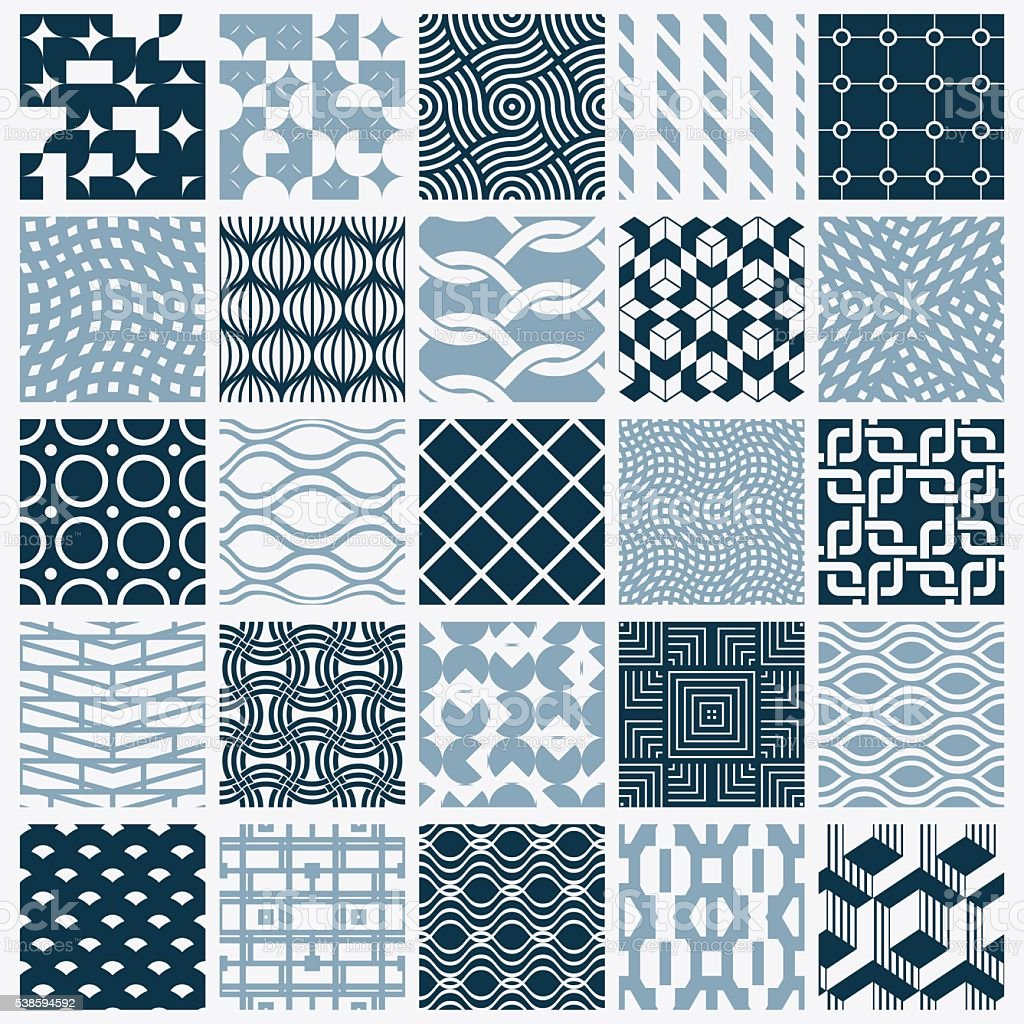 Set of vector endless geometric patterns composed with different figures vector art illustration