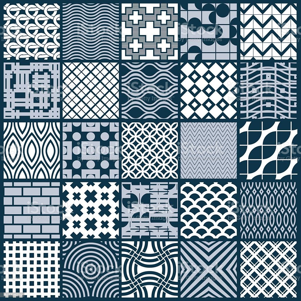 Set of vector endless geometric patterns composed with different vector art illustration