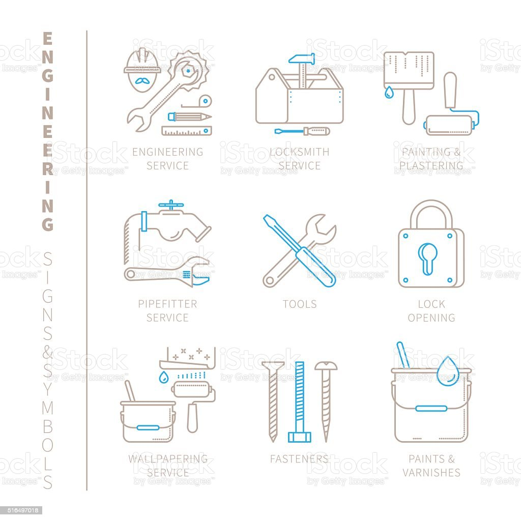 Set of vector engineering icons and concepts vector art illustration