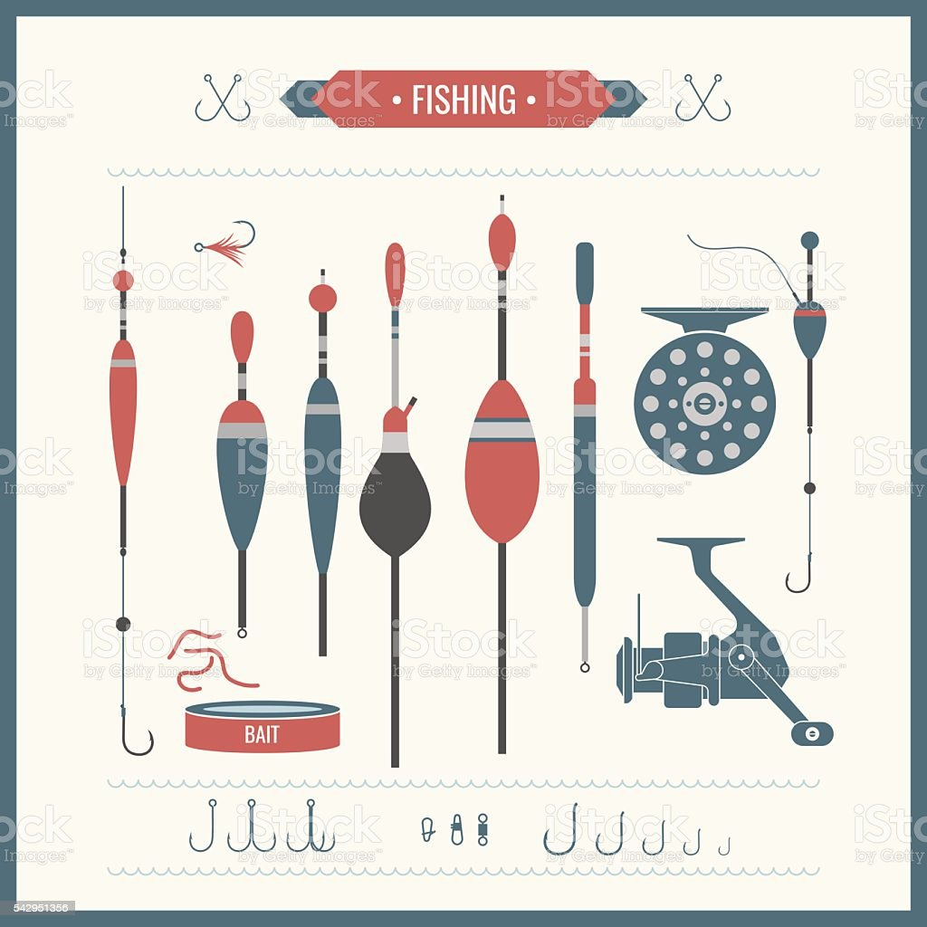 Set of vector Fishing tackle vector art illustration