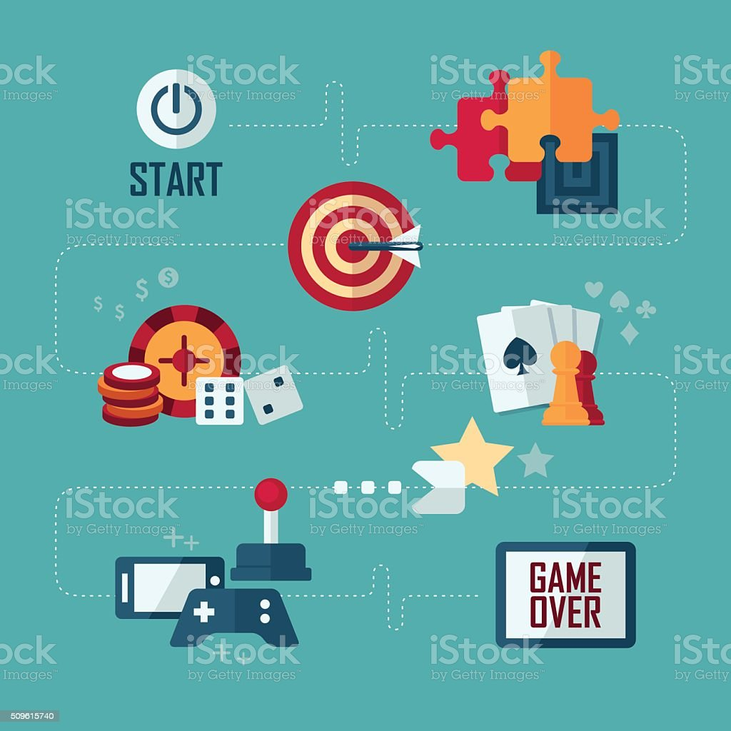 Set of vector flat design concept icons of games vector art illustration