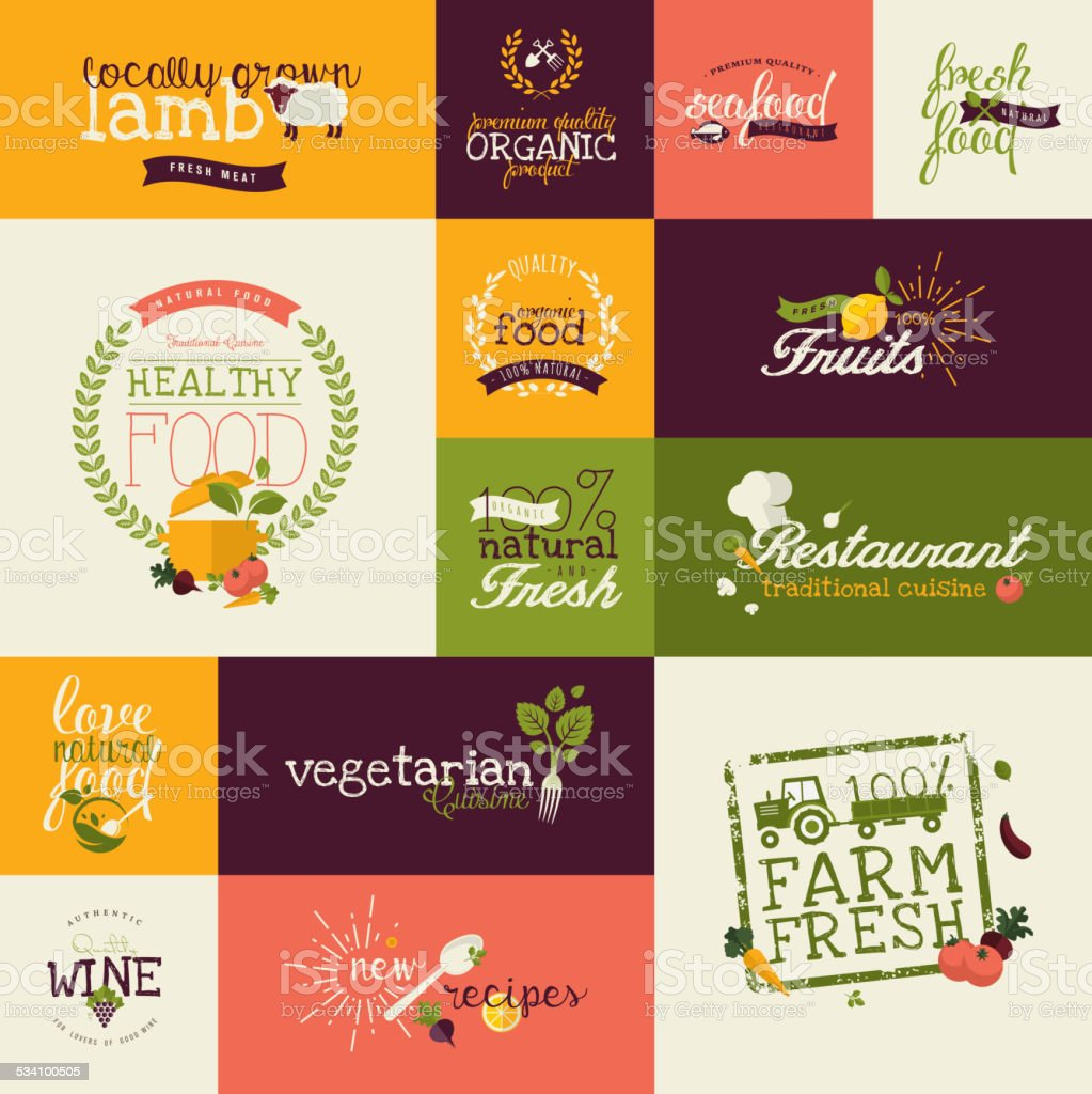 Set of vector flat design icons for food and drink vector art illustration