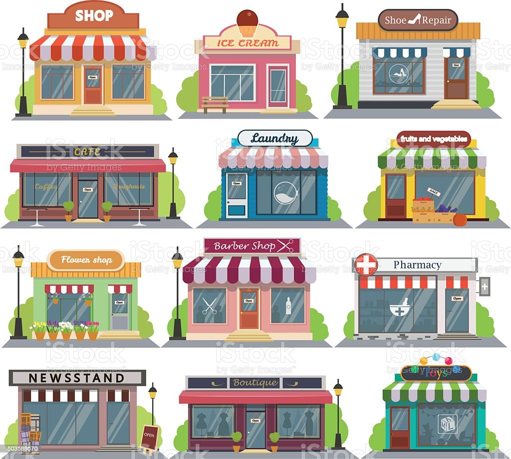 Set of vector flat design restaurants and shops facade icons. vector art illustration