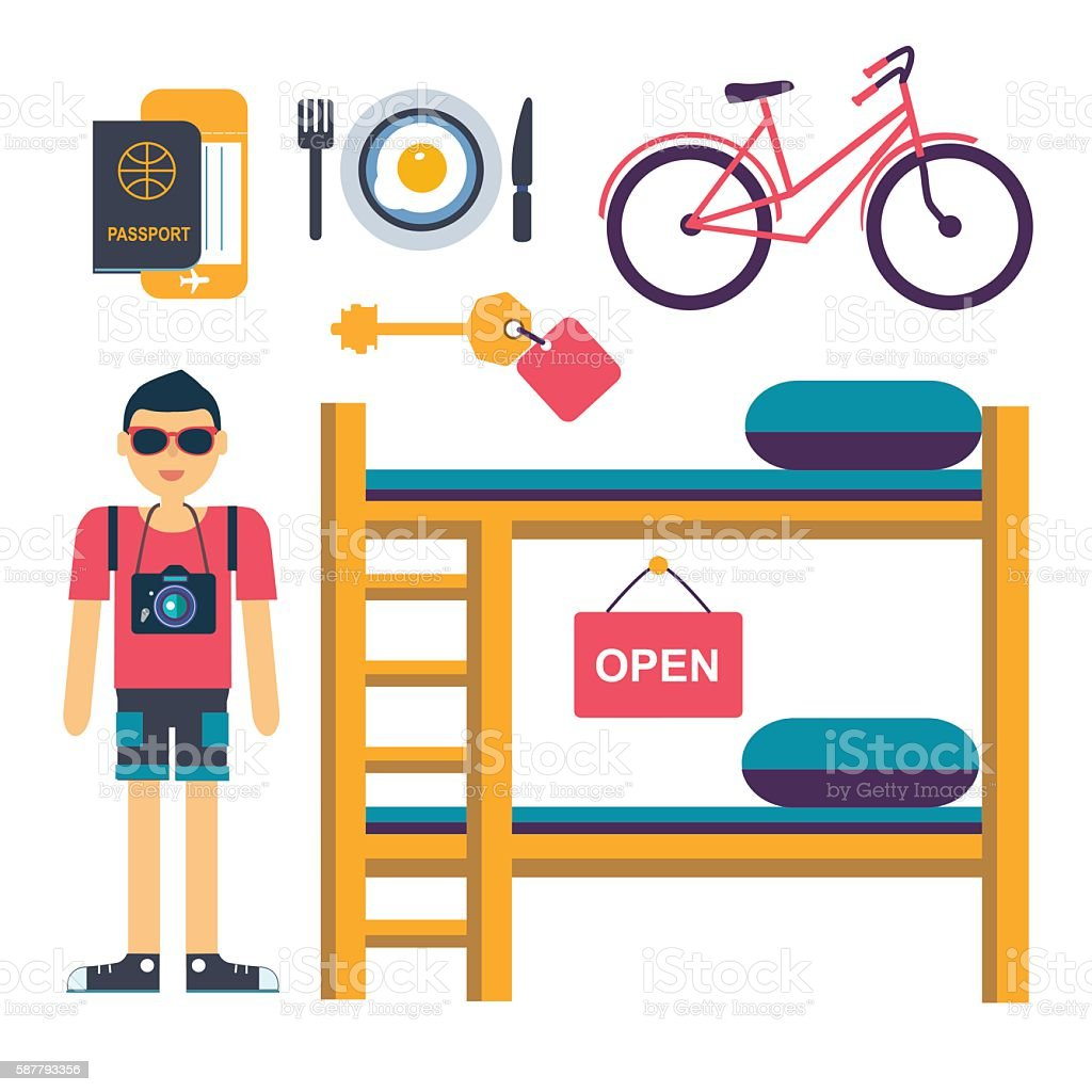 set of vector flat icons for hostel service with tourist vector art illustration