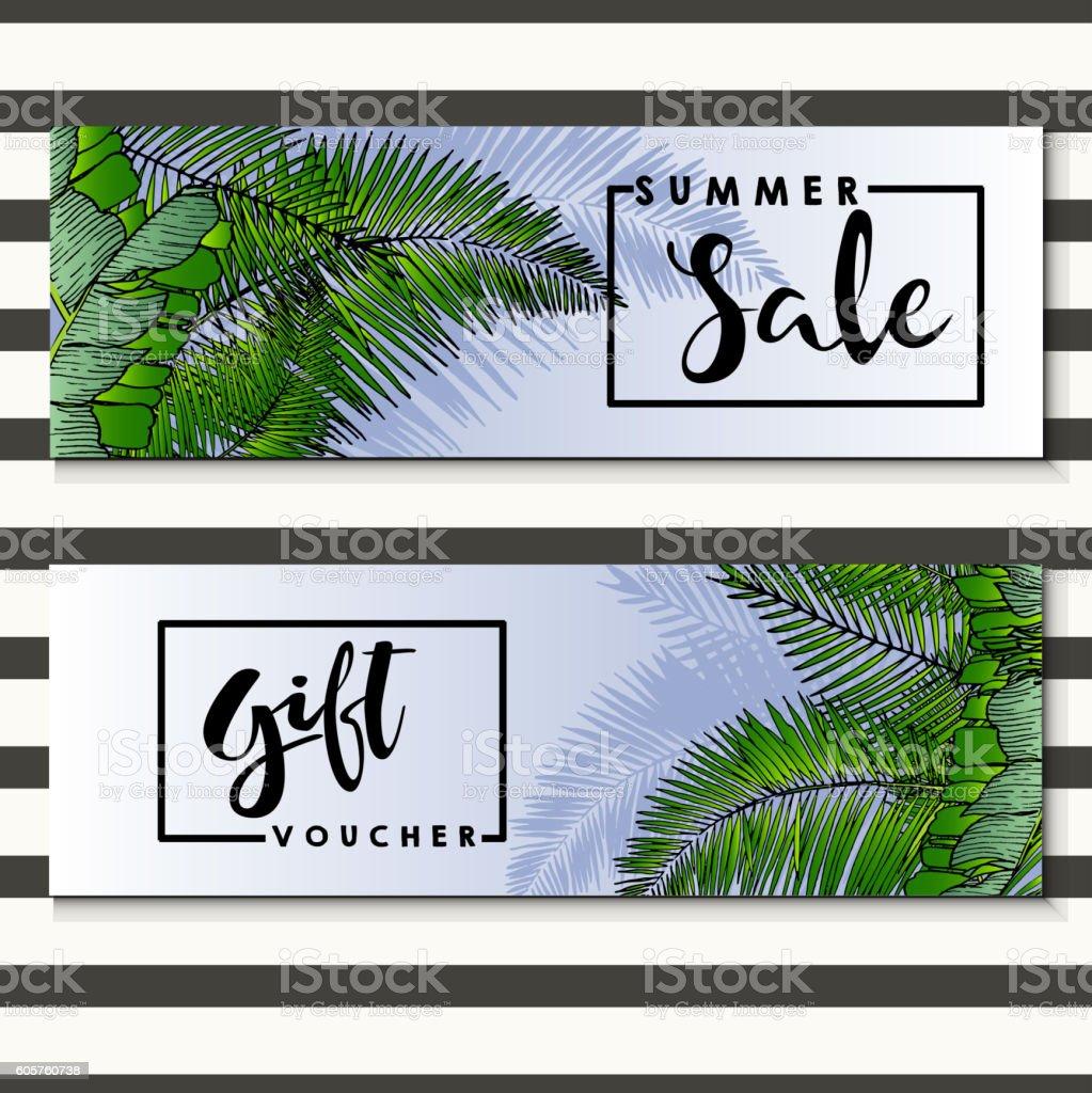 Set of vector flyer for summer sale. exotic palm leaves. vector art illustration