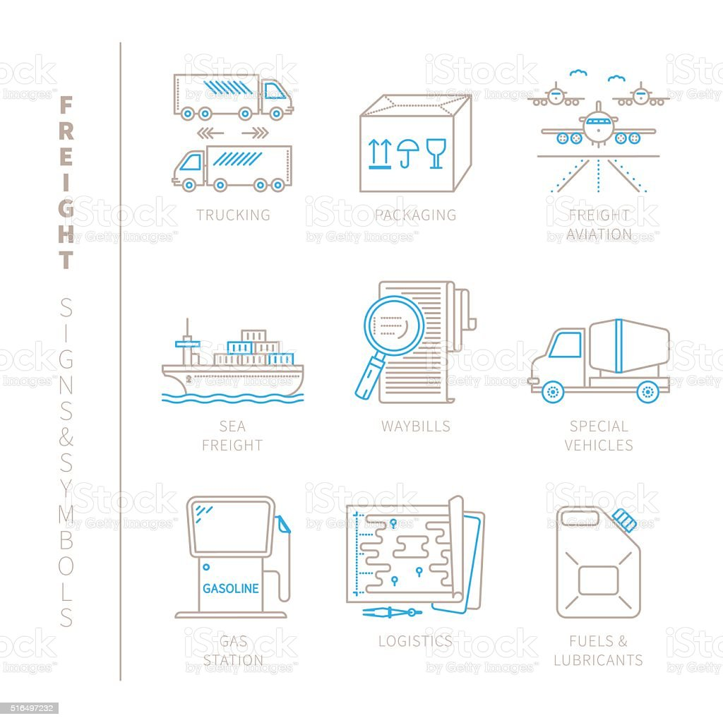 Set of vector freight icons and concepts vector art illustration