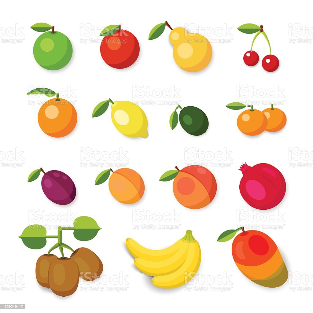 Set of vector fruit icons on white. vector art illustration