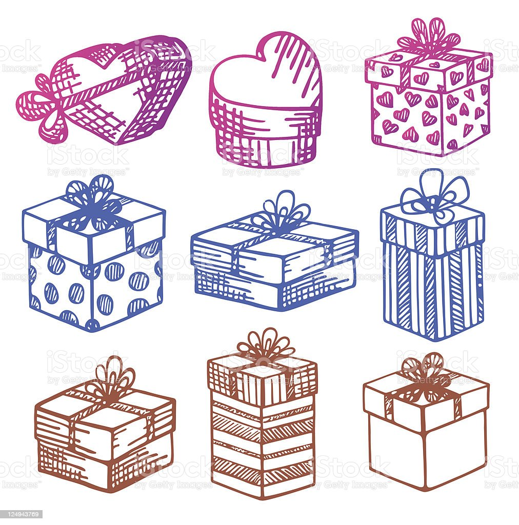 Set of vector Gift boxes. Doodle. royalty-free stock vector art