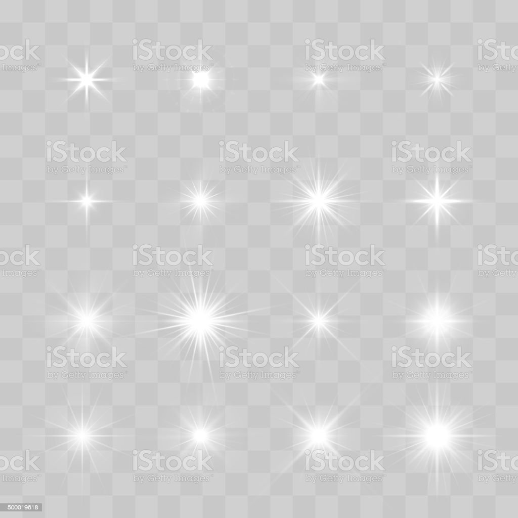 Set of Vector glowing sparkling stars vector art illustration