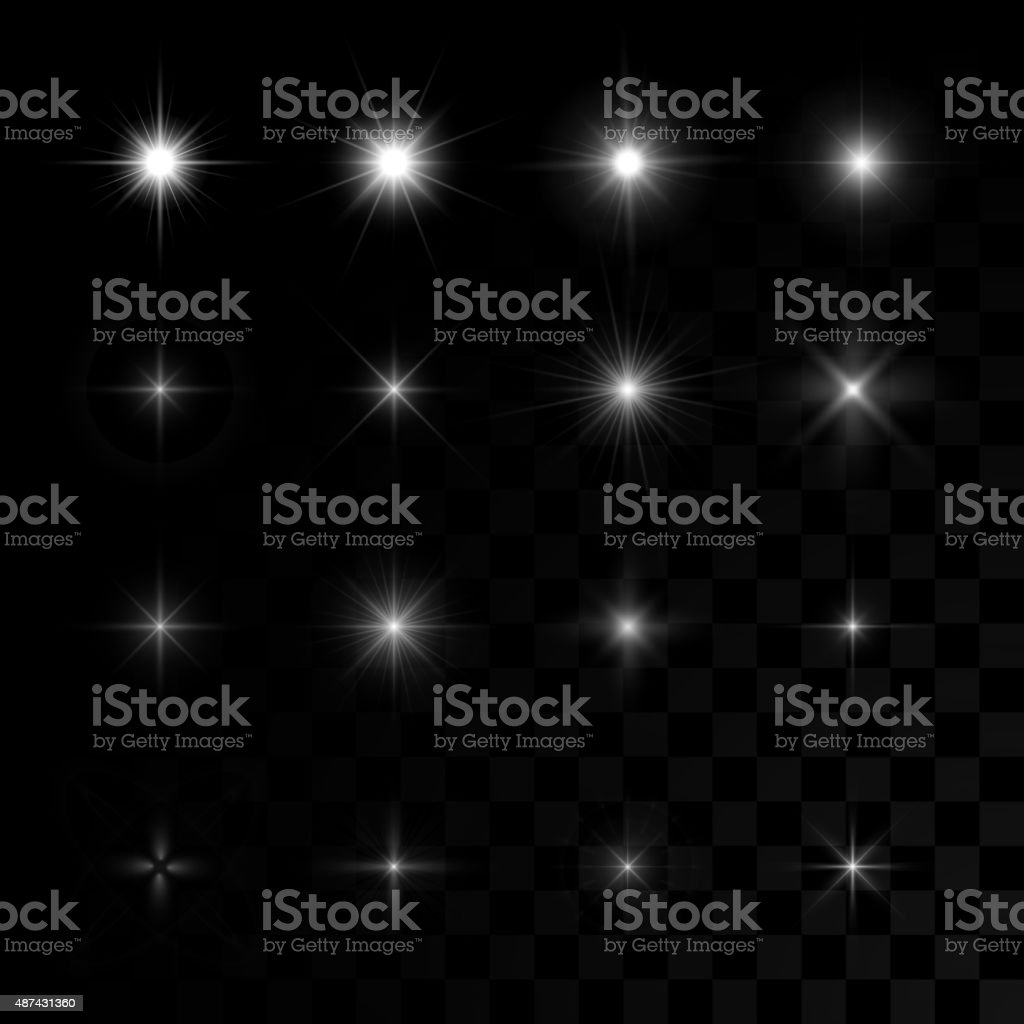 Set of vector glowing stars sparks vector art illustration