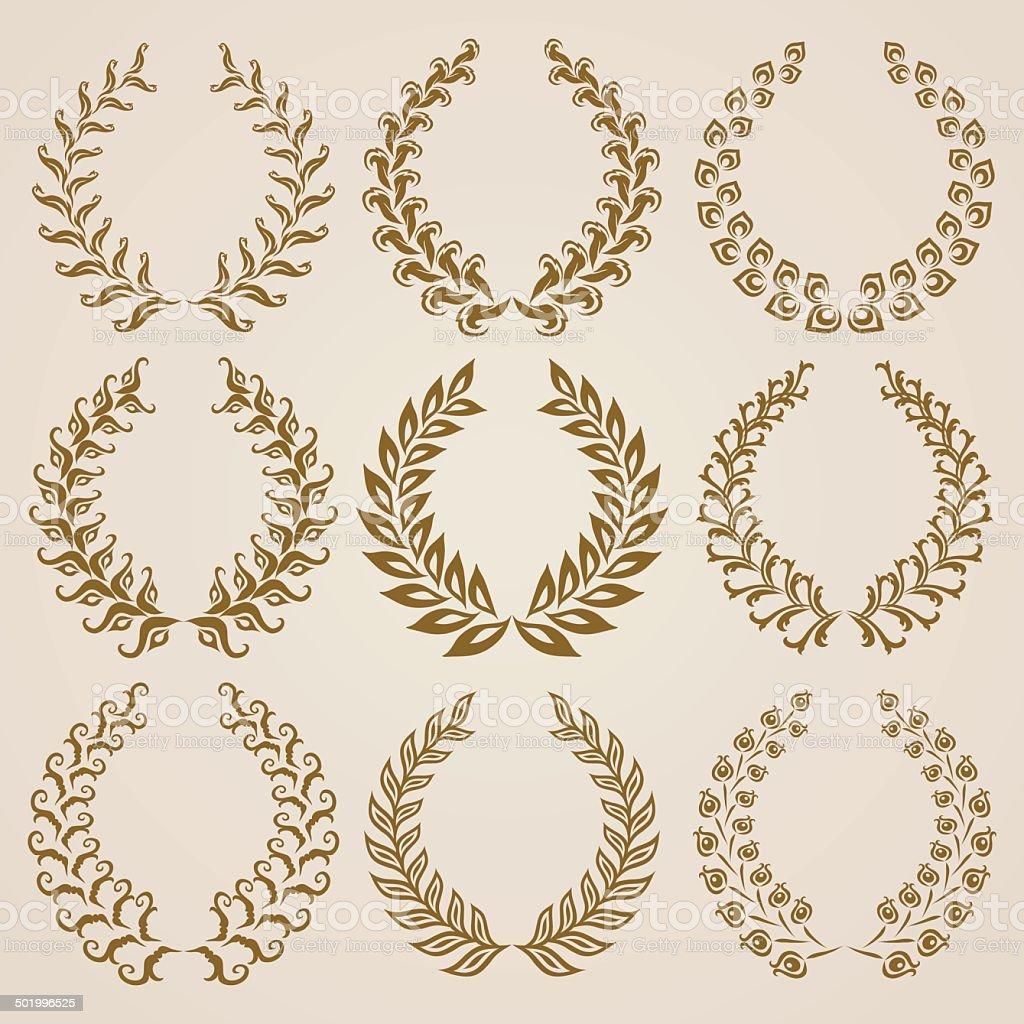Set of Vector gold laurel wreaths. royalty-free stock vector art
