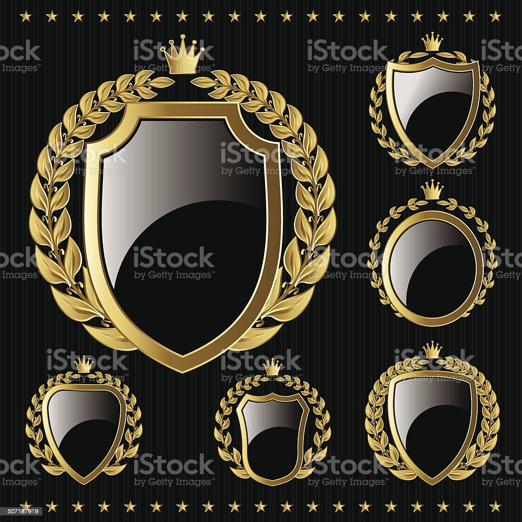 set of vector golden emblem with shield and wreaths vector art illustration