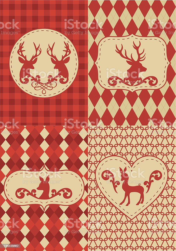 Set of vector graphics of vintage holiday deers royalty-free stock vector art