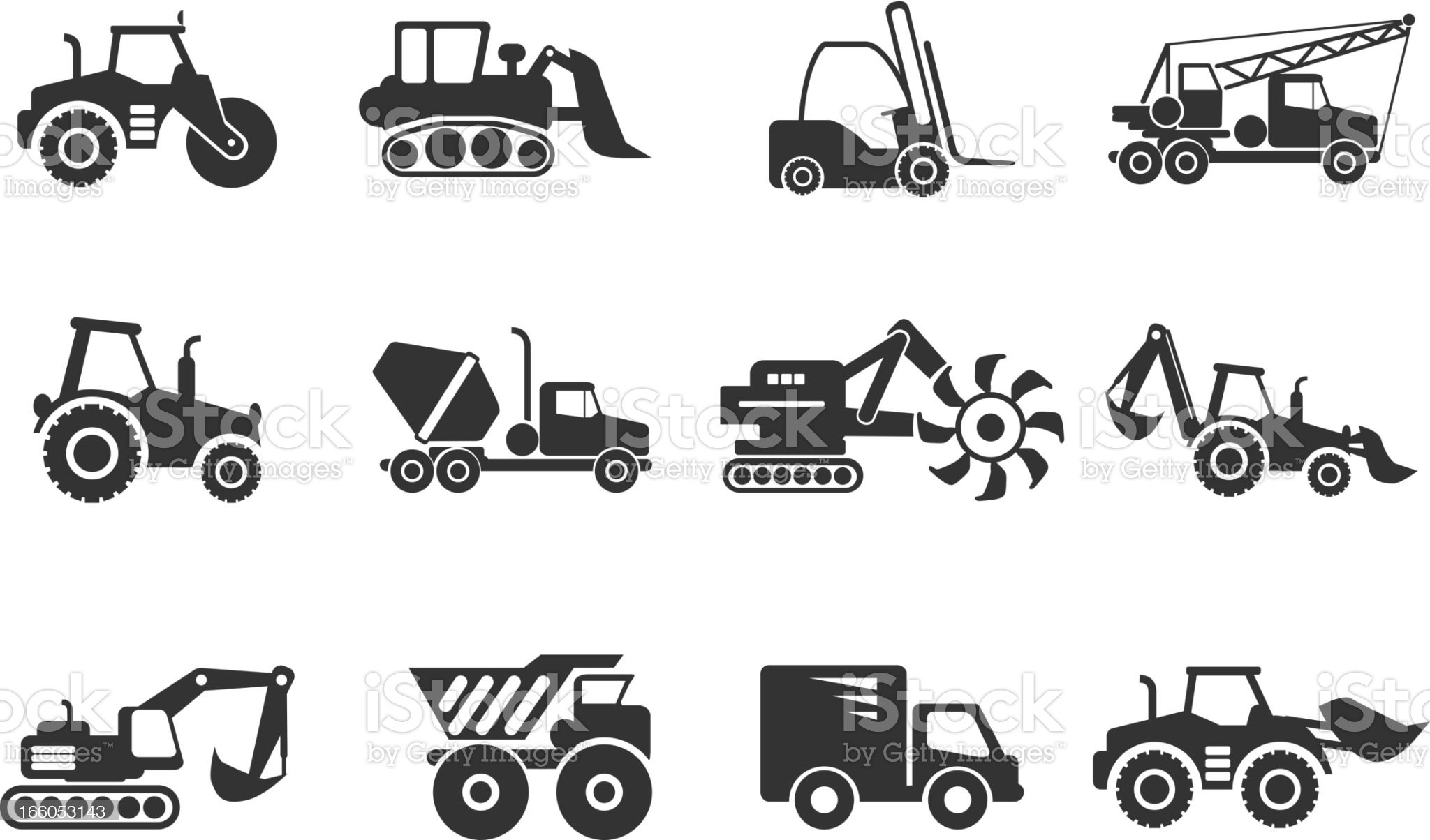 A set of vector graphics to represent construction vehicles royalty-free stock vector art