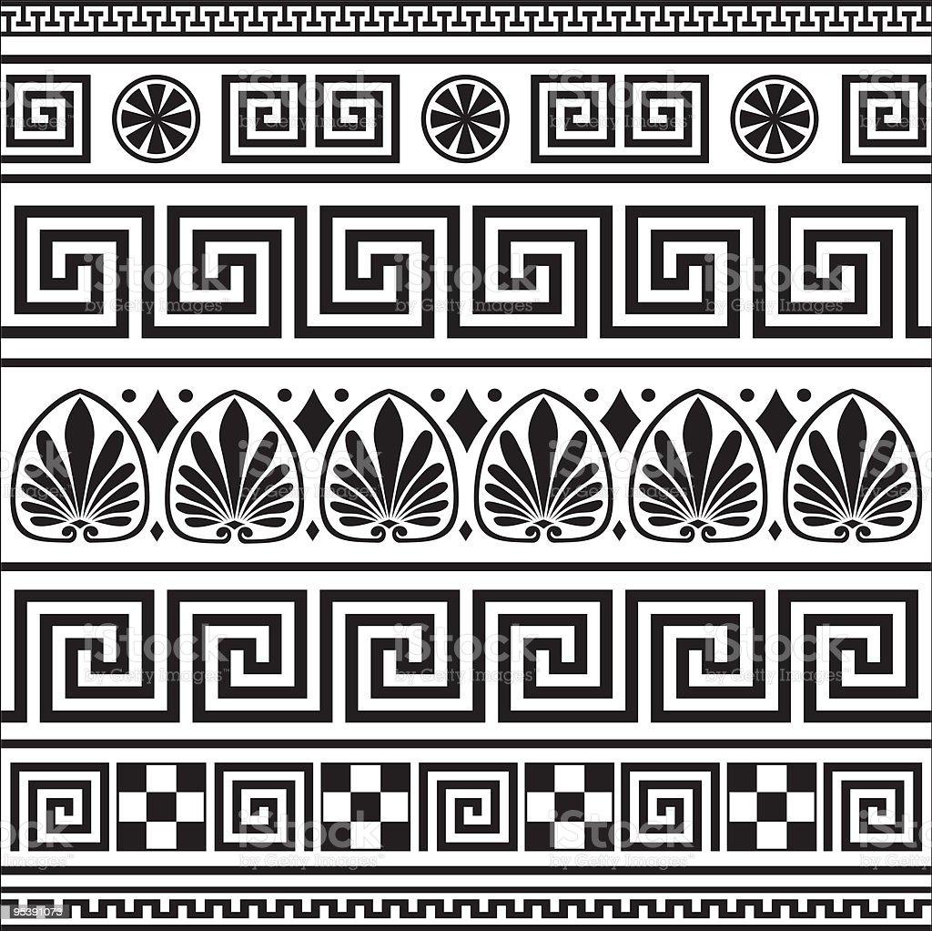 Set of vector greek borders vector art illustration