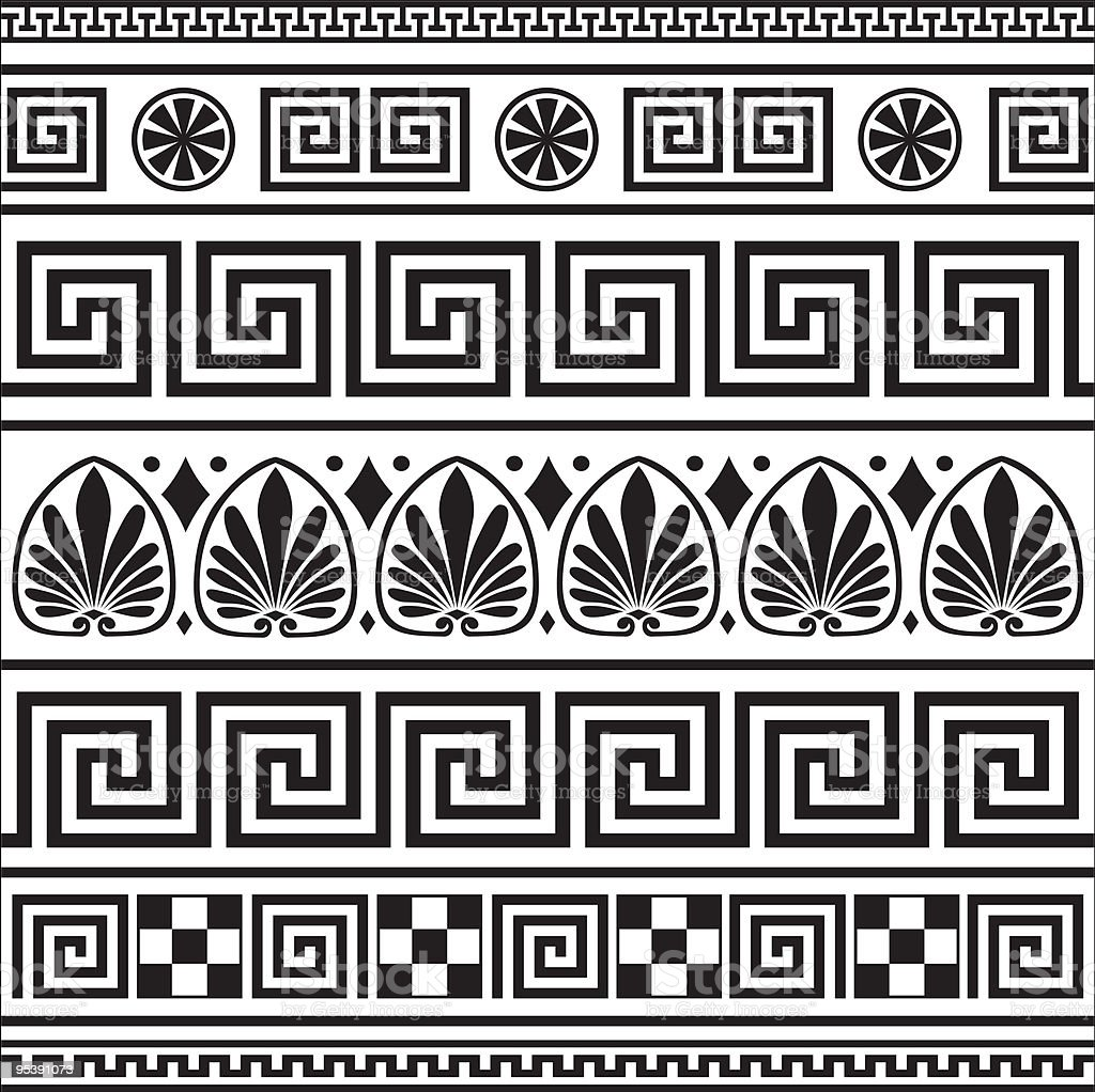 Set of vector greek borders vector art illustration