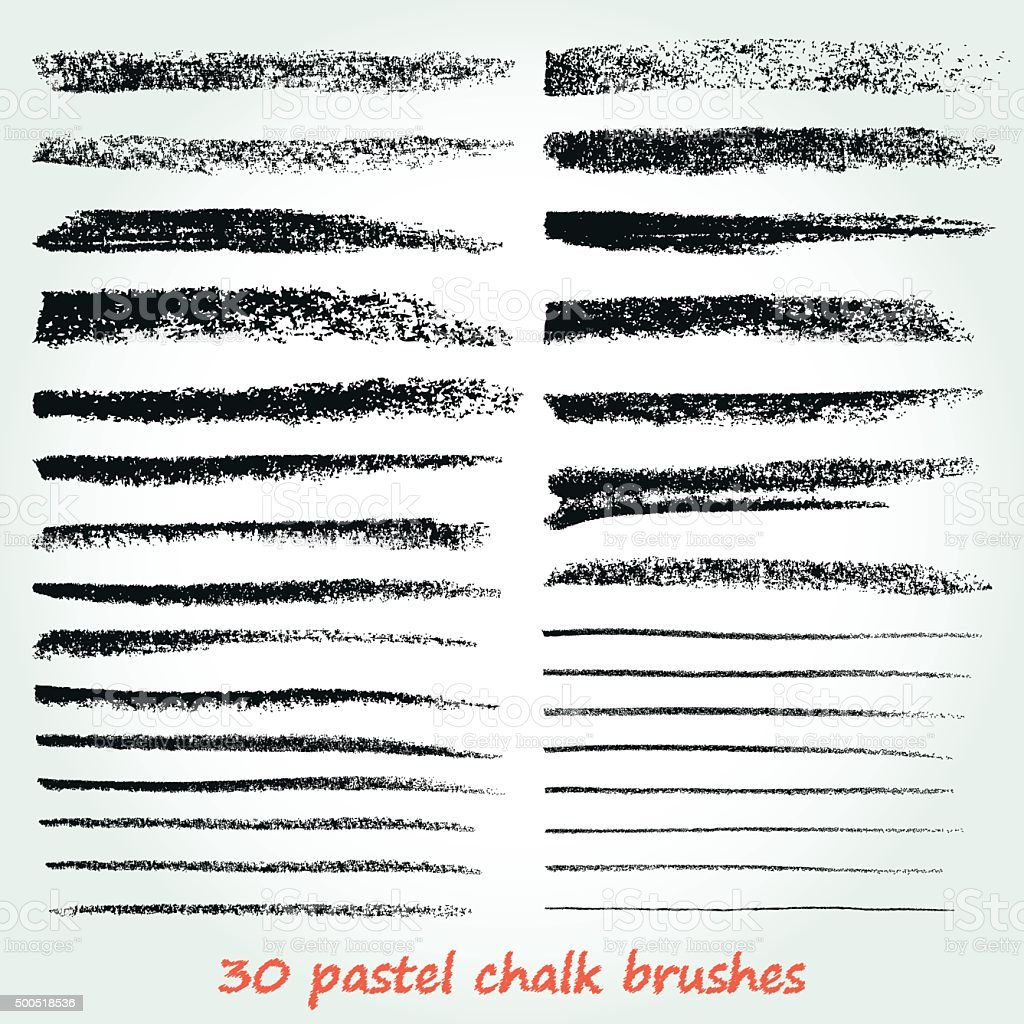 Set of vector grunge brushes created with chalk and charcoal. vector art illustration
