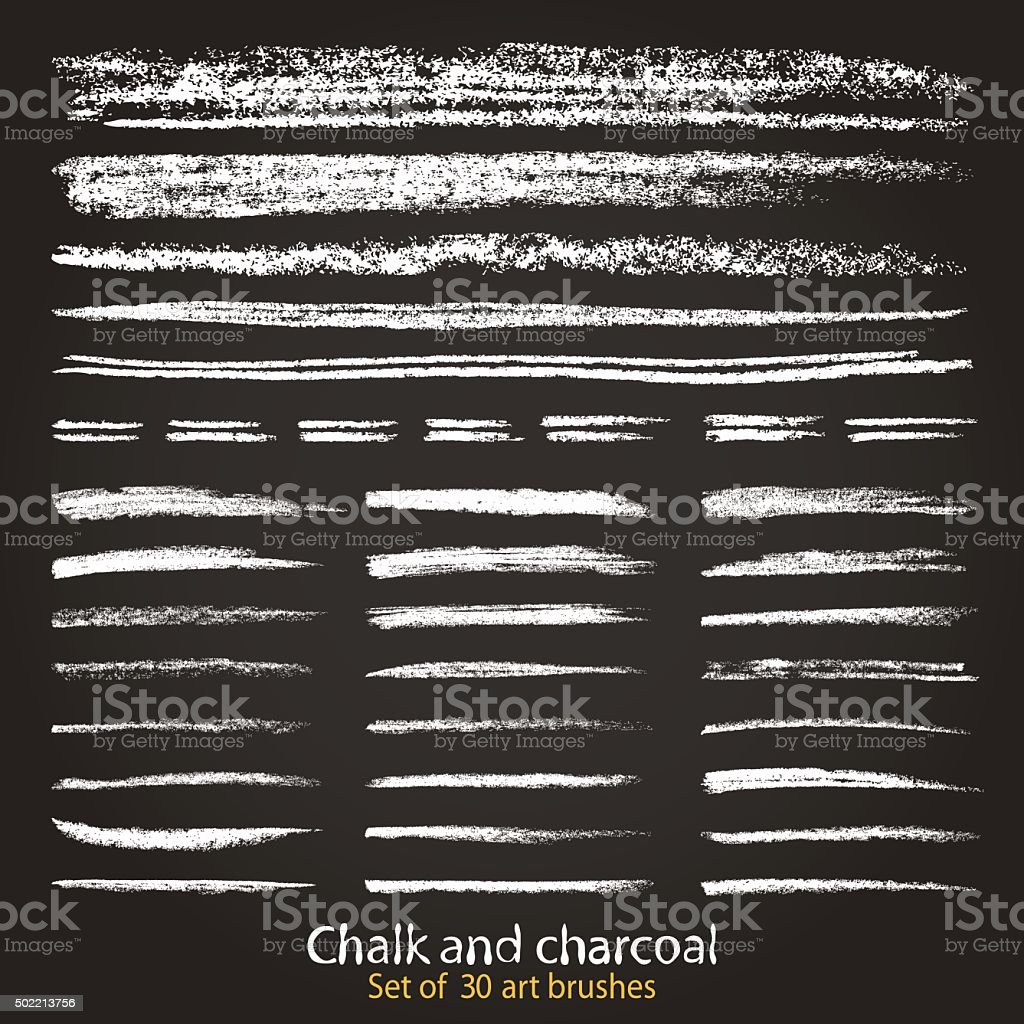 Set of vector grunge brushes created with chalk and charcoal vector art illustration