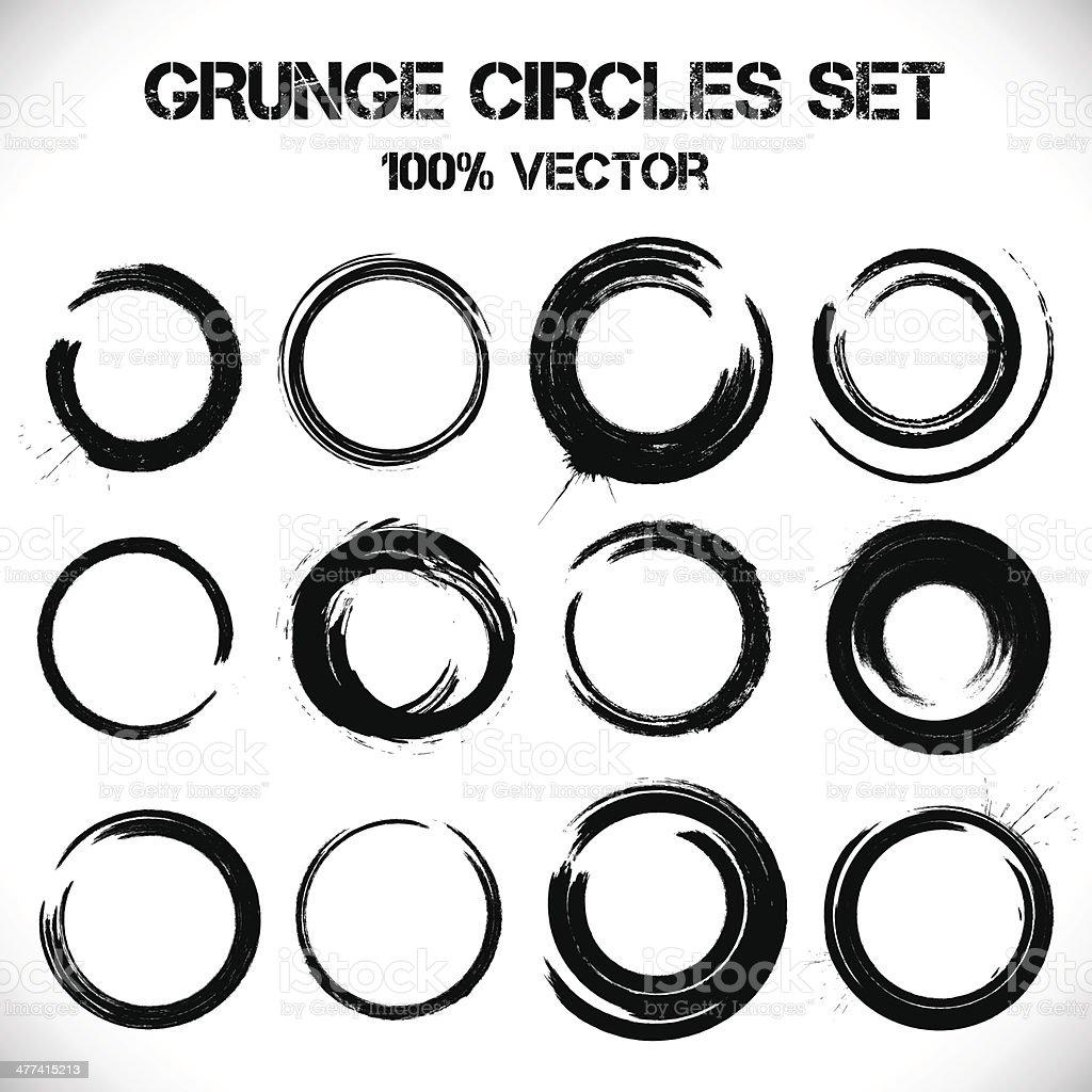 Set of vector grunge circles. vector art illustration