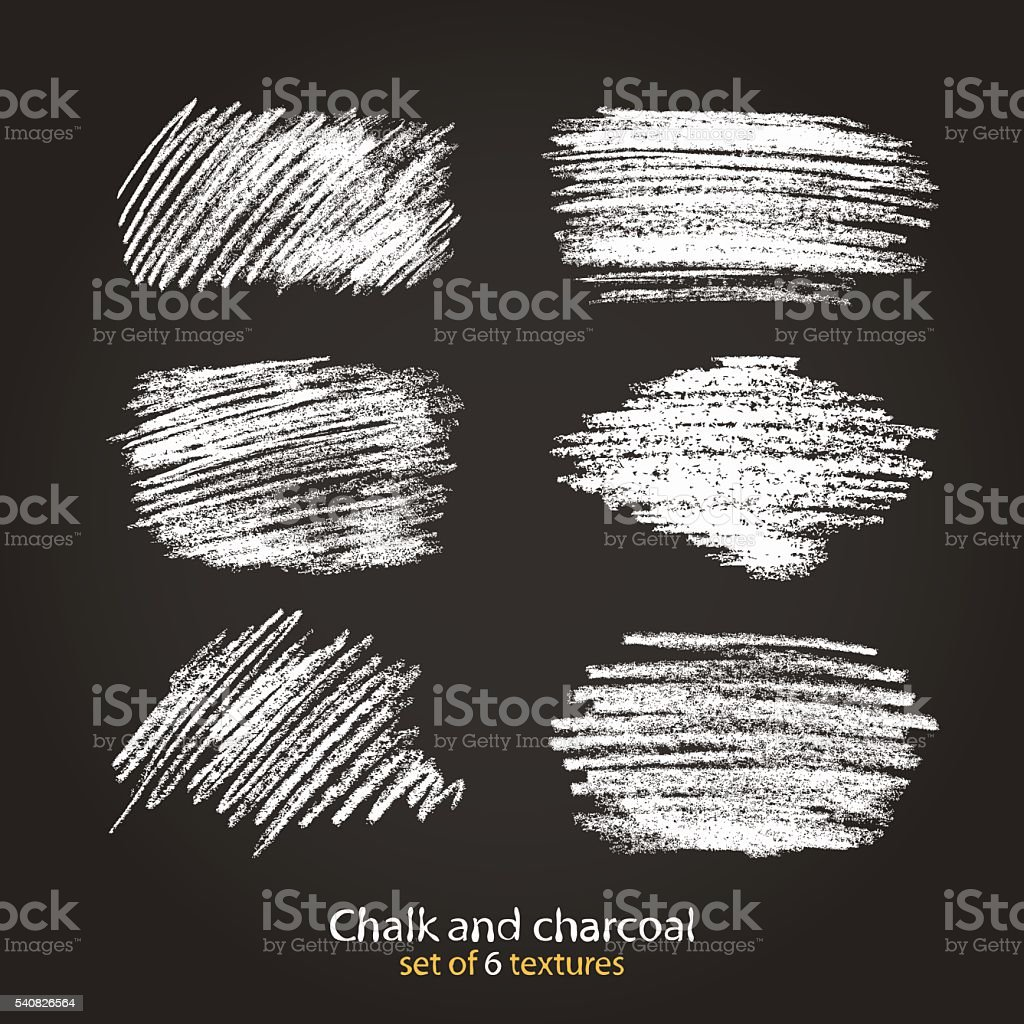 Set of vector grunge texture created with chalk and charcoal. vector art illustration
