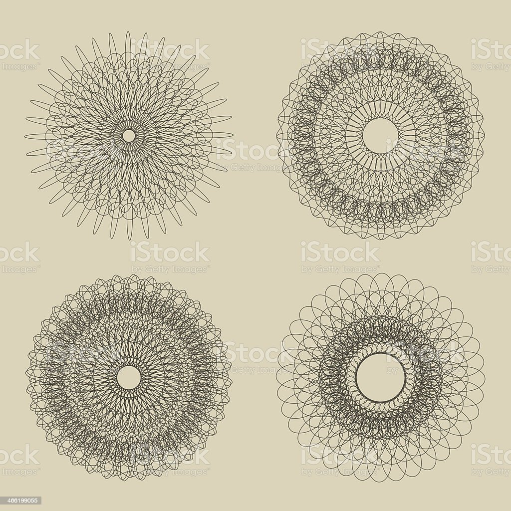 Set of Vector Guilloche Rosettes Certificate or Diplomas, Decorative Elements royalty-free stock vector art